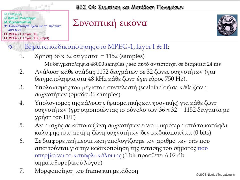 ΒΕΣ 04: Συμπίεση και Μετάδοση Πολυμέσων © 2006 Nicolas Tsapatsoulis ◊ Βήματα κωδικοποίησης στο MPEG-1, layer I & II: 1.Χρήση 36 x 32 δείγματα = 1152 (
