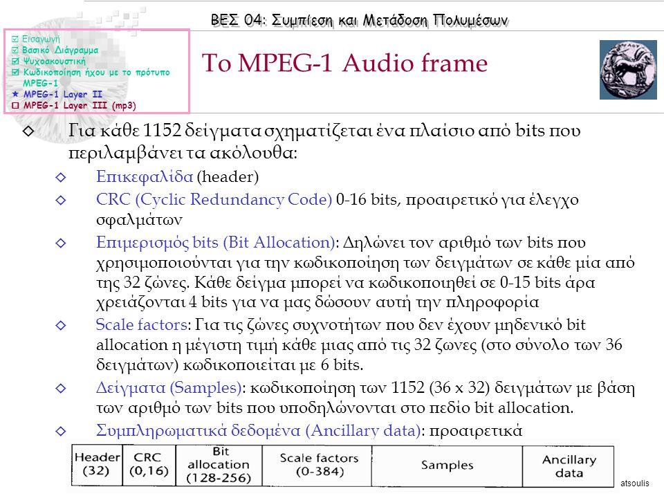 ΒΕΣ 04: Συμπίεση και Μετάδοση Πολυμέσων © 2006 Nicolas Tsapatsoulis ◊ Για κάθε 1152 δείγματα σχηματίζεται ένα πλαίσιο από bits που περιλαμβάνει τα ακό
