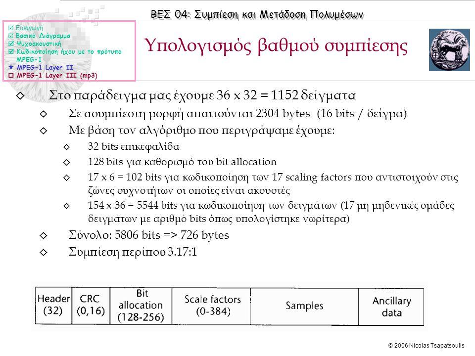 ΒΕΣ 04: Συμπίεση και Μετάδοση Πολυμέσων © 2006 Nicolas Tsapatsoulis ◊ Στο παράδειγμα μας έχουμε 36 x 32 = 1152 δείγματα ◊ Σε ασυμπίεστη μορφή απαιτούν