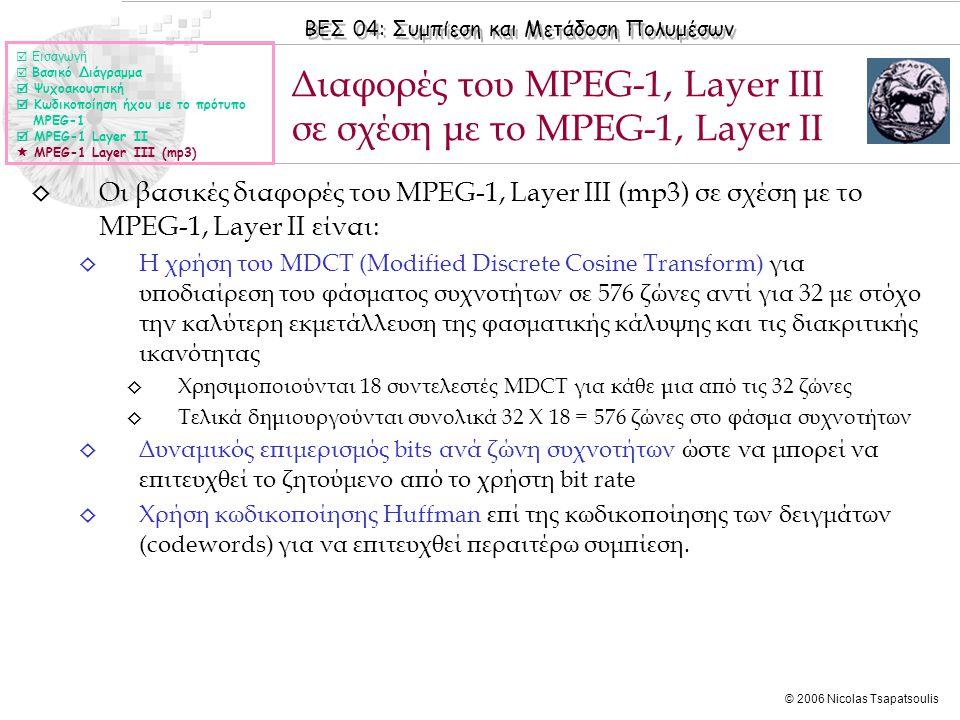 ΒΕΣ 04: Συμπίεση και Μετάδοση Πολυμέσων © 2006 Nicolas Tsapatsoulis ◊ Οι βασικές διαφορές του MPEG-1, Layer III (mp3) σε σχέση με το MPEG-1, Layer II