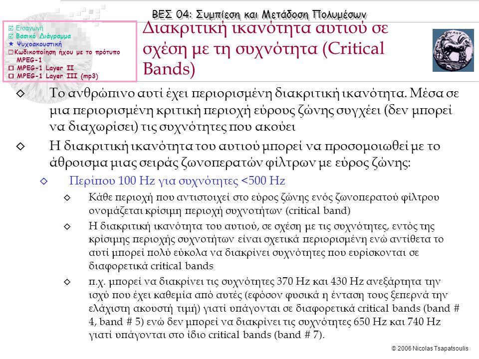 ΒΕΣ 04: Συμπίεση και Μετάδοση Πολυμέσων © 2006 Nicolas Tsapatsoulis ◊ Περίπου 100 Hz για συχνότητες <500 Hz (συν.) ◊ Το φαινόμενο της φασματικής κάλυψης είναι ισχυρότερο εντός ενός critical band ◊ Σύμφωνα με τη σχέση bw = 25 +75·{1+1.4·(f/1000) 2 } 0.69, (για συχνότητες f > 500 Hz) ◊ Η διακριτική ικανότητα του αυτιού σε σχέση με τις συχνότητες οδήγησε στη χρήση φίλτρων ανάλυσης σε ζώνες (subband filters) στο πλαίσιο της κωδικοποίησης με βάση την αντίληψη Διακριτική ικανότητα αυτιού σε σχέση με τη συχνότητα (ΙΙ)  Εισαγωγή  Βασικό Διάγραμμα  Ψυχοακουστική  Κωδικοποίηση ήχου με το πρότυπο MPEG-1  MPEG-1 Layer II  MPEG-1 Layer III (mp3)
