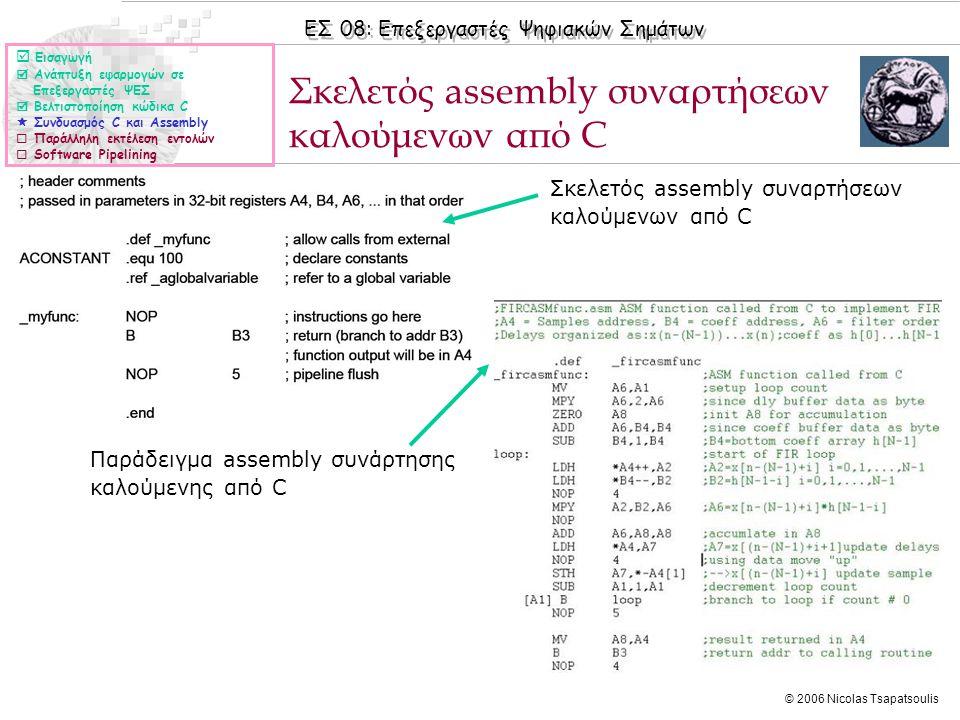 ΕΣ 08: Επεξεργαστές Ψηφιακών Σημάτων © 2006 Nicolas Tsapatsoulis Σκελετός assembly συναρτήσεων καλούμενων από C Παράδειγμα assembly συνάρτησης καλούμενης από C Σκελετός assembly συναρτήσεων καλούμενων από C  Εισαγωγή  Ανάπτυξη εφαρμογών σε Επεξεργαστές ΨΕΣ  Βελτιστοποίηση κώδικα C  Συνδυασμός C και Assembly  Παράλληλη εκτέλεση εντολών  Software Pipelining