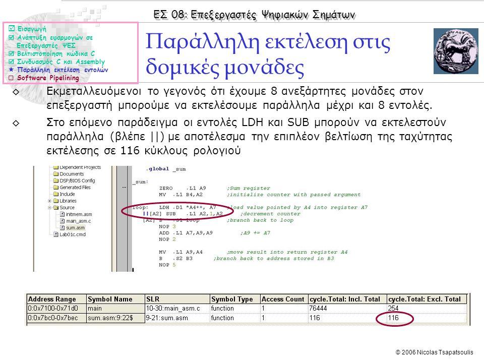 ΕΣ 08: Επεξεργαστές Ψηφιακών Σημάτων © 2006 Nicolas Tsapatsoulis ◊Εκμεταλλευόμενοι το γεγονός ότι έχουμε 8 ανεξάρτητες μονάδες στον επεξεργαστή μπορούμε να εκτελέσουμε παράλληλα μέχρι και 8 εντολές.