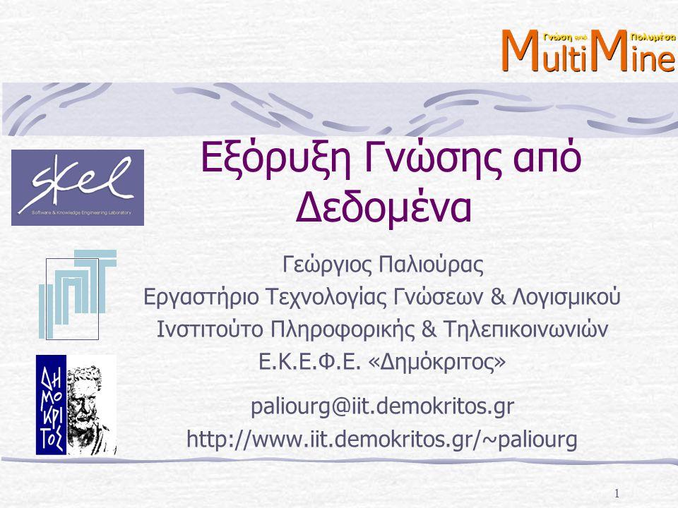 © Georgios Paliouras42 Εκμάθηση ταξινομητών Εύρεση καλύτερου χαρακτηριστικού Αρχική «αβεβαιότητα» (εντροπία πληροφορίας): «Αβεβαιότητα» αν επιλεγεί το Χ : «Κέρδος πληροφορίας» (information gain) αν επιλεγεί το Χ :