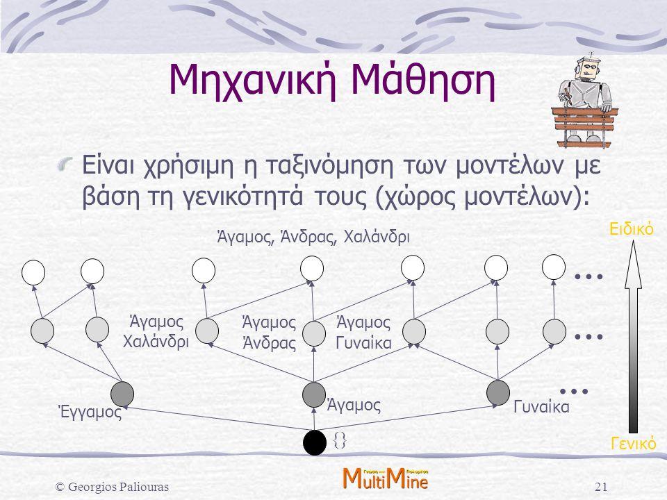 © Georgios Paliouras21 Άγαμος Χαλάνδρι Άγαμος Άνδρας Άγαμος Γυναίκα Μηχανική Μάθηση Είναι χρήσιμη η ταξινόμηση των μοντέλων με βάση τη γενικότητά τους