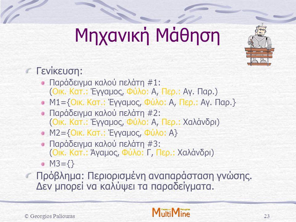 © Georgios Paliouras23 Μηχανική Μάθηση Γενίκευση: Παράδειγμα καλού πελάτη #1: (Οικ. Κατ.: Έγγαμος, Φύλο: Α, Περ.: Αγ. Παρ.) Μ1={Οικ. Κατ.: Έγγαμος, Φύ