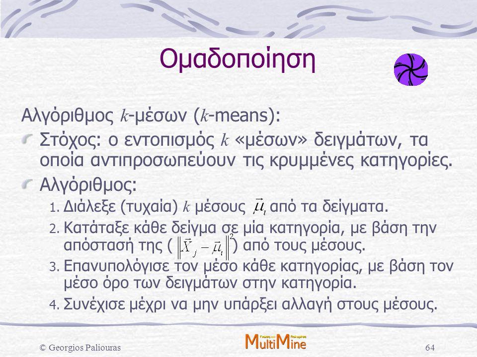 © Georgios Paliouras64 Ομαδοποίηση Αλγόριθμος k -μέσων ( k -means): Στόχος: ο εντοπισμός k «μέσων» δειγμάτων, τα οποία αντιπροσωπεύουν τις κρυμμένες κ