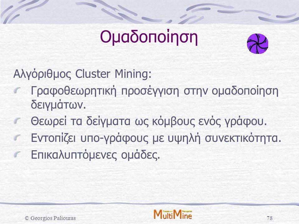 © Georgios Paliouras78 Ομαδοποίηση Αλγόριθμος Cluster Mining: Γραφοθεωρητική προσέγγιση στην ομαδοποίηση δειγμάτων. Θεωρεί τα δείγματα ως κόμβους ενός
