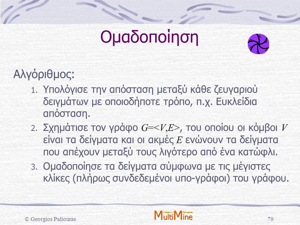 © Georgios Paliouras79 Ομαδοποίηση Αλγόριθμος: 1. Υπολόγισε την απόσταση μεταξύ κάθε ζευγαριού δειγμάτων με οποιοδήποτε τρόπο, π.χ. Ευκλείδια απόσταση