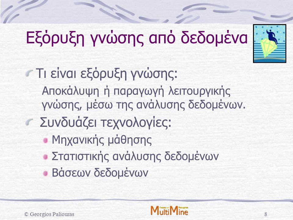 © Georgios Paliouras89 Αποκάλυψη συσχετίσεων Εξόρυξη κανόνων συσχέτισης Στόχος: Εντοπισμός κανόνων της μορφής που έχουν μεγάλη στήριξη (support): και μεγάλη βεβαιότητα (confidence):  B/M: H P( Ηλικία: [20-30], Έγγαμος: ΝΑΙ, B/M: H ) > s P( B/M: H   Ηλικία: [20-30], Έγγαμος: ΝΑΙ ) > c