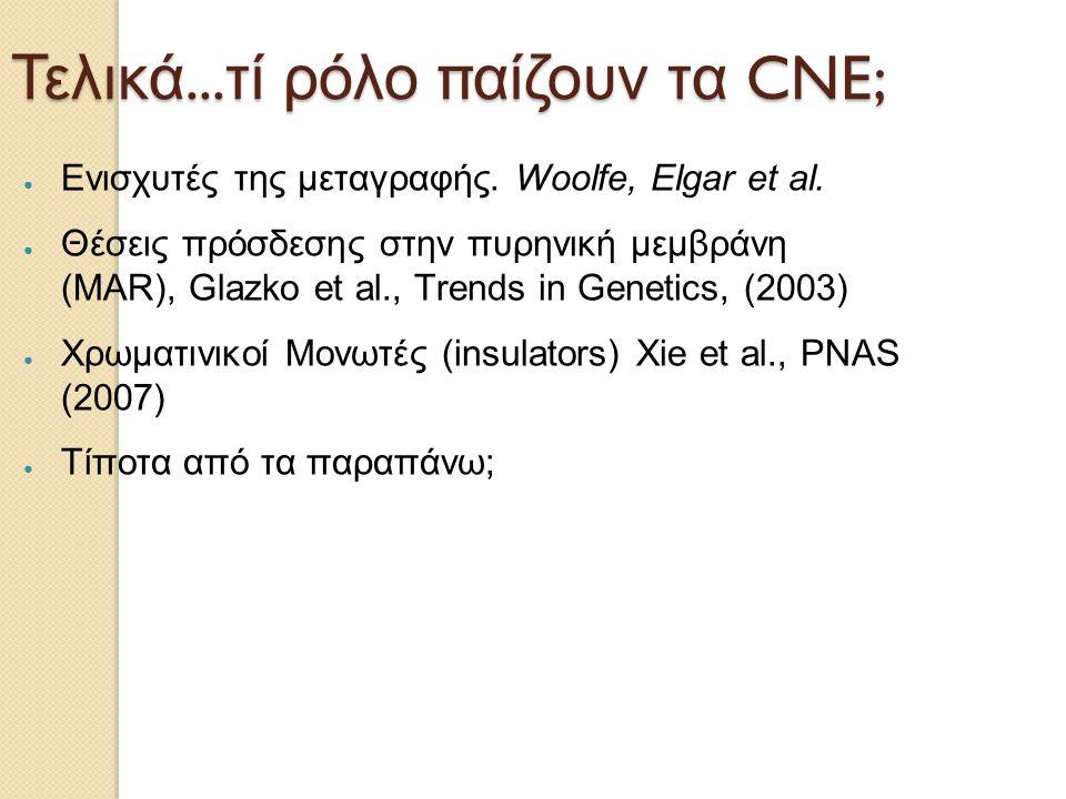 Τελικά... τί ρόλο παίζουν τα CNE; ● Ενισχυτές της μεταγραφής. Woolfe, Elgar et al. ● Θέσεις πρόσδεσης στην πυρηνική μεμβράνη (MAR), Glazko et al., Tre
