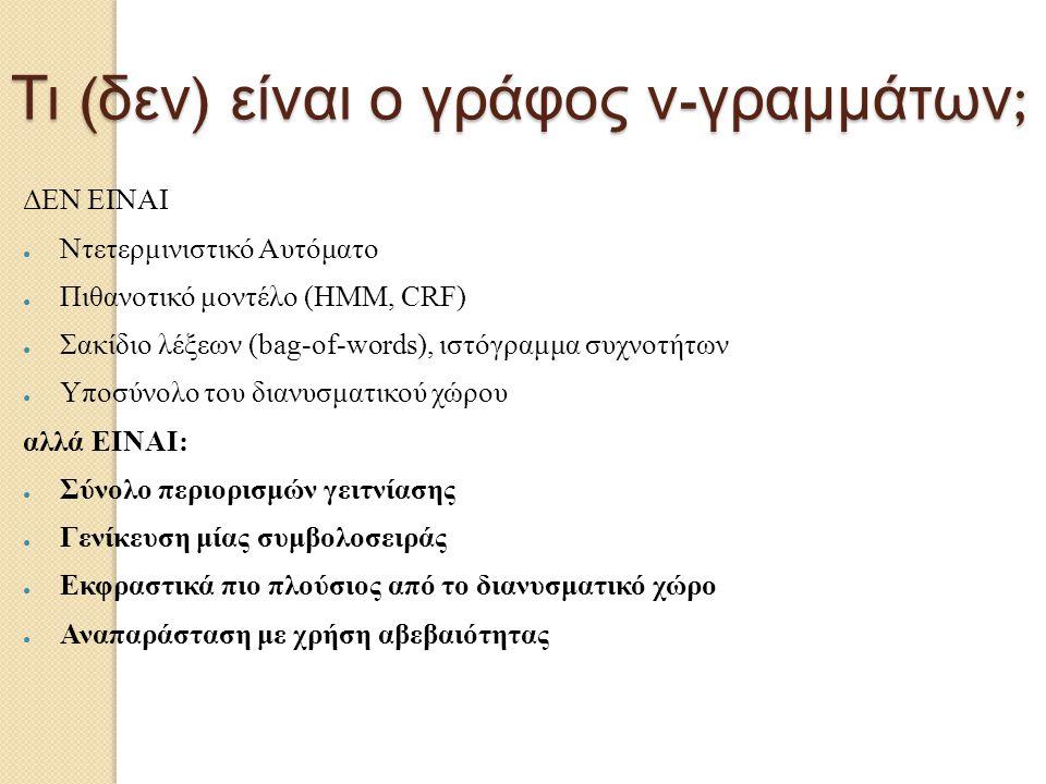 Τι ( δεν ) είναι ο γράφος ν - γραμμάτων ; ΔΕΝ ΕΙΝΑΙ ● Ντετερμινιστικό Αυτόματο ● Πιθανοτικό μοντέλο (HMM, CRF) ● Σακίδιο λέξεων (bag-of-words), ιστόγρ