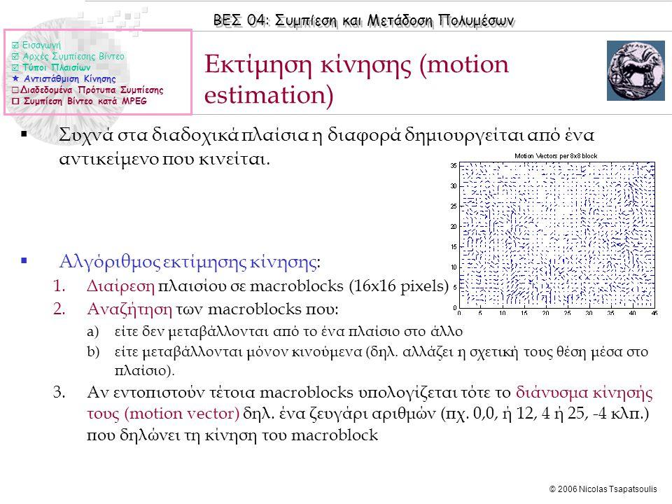 ΒΕΣ 04: Συμπίεση και Μετάδοση Πολυμέσων © 2006 Nicolas Tsapatsoulis Εκτίμηση κίνησης (motion estimation)  Συχνά στα διαδοχικά πλαίσια η διαφορά δημιο