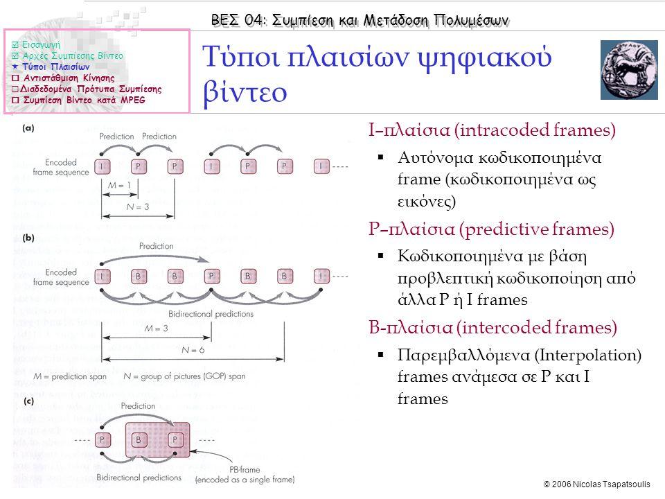 ΒΕΣ 04: Συμπίεση και Μετάδοση Πολυμέσων © 2006 Nicolas Tsapatsoulis ΜPEG-4 (ΙΙ)  Εισαγωγή  Αρχές Συμπίεσης Βίντεο  Τύποι Πλαισίων  Αντιστάθμιση Κίνησης  Διαδεδομένα Πρότυπα Συμπίεσης  Συμπίεση Βίντεο κατά MPEG  Η συμπίεση στο MPEG-4 αποτελεί βελτίωση της συμπίεσης MPEG-1:  Τα I-frames συμπιέζονται όπως στο MPEG-1  Βελτίωση στην αντιστάθμιση κίνησης (motion compensation) οδηγεί σε καλύτερη ποιότητα σε σχέση με το MPEG-1 για το ίδιο bit rate  Simple Profile  Χρησιμοποιούνται μόνο Ι και P-frames  Αποτελεσματική αποσυμπίεση κατάλληλη για χρήση σε υλικό περιορισμένων δυνατοτήτων (π.χ.