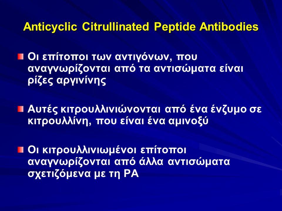 Anticyclic Citrullinated Peptide Antibodies Οι επίτοποι των αντιγόνων, που αναγνωρίζονται από τα αντισώματα είναι ρίζες αργινίνης Αυτές κιτρουλλινιώνονται από ένα ένζυμο σε κιτρουλλίνη, που είναι ένα αμινοξύ Οι κιτρουλλινιωμένοι επίτοποι αναγνωρίζονται από άλλα αντισώματα σχετιζόμενα με τη ΡΑ