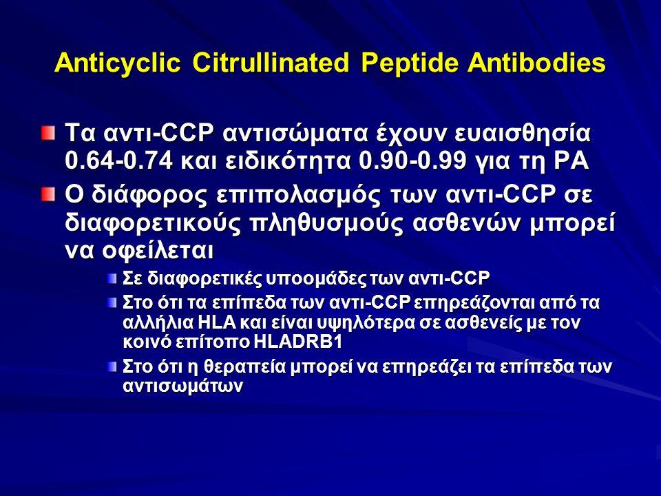 Anticyclic Citrullinated Peptide Antibodies Τα αντι-CCP αντισώματα έχουν ευαισθησία 0.64-0.74 και ειδικότητα 0.90-0.99 για τη ΡΑ Ο διάφορος επιπολασμό