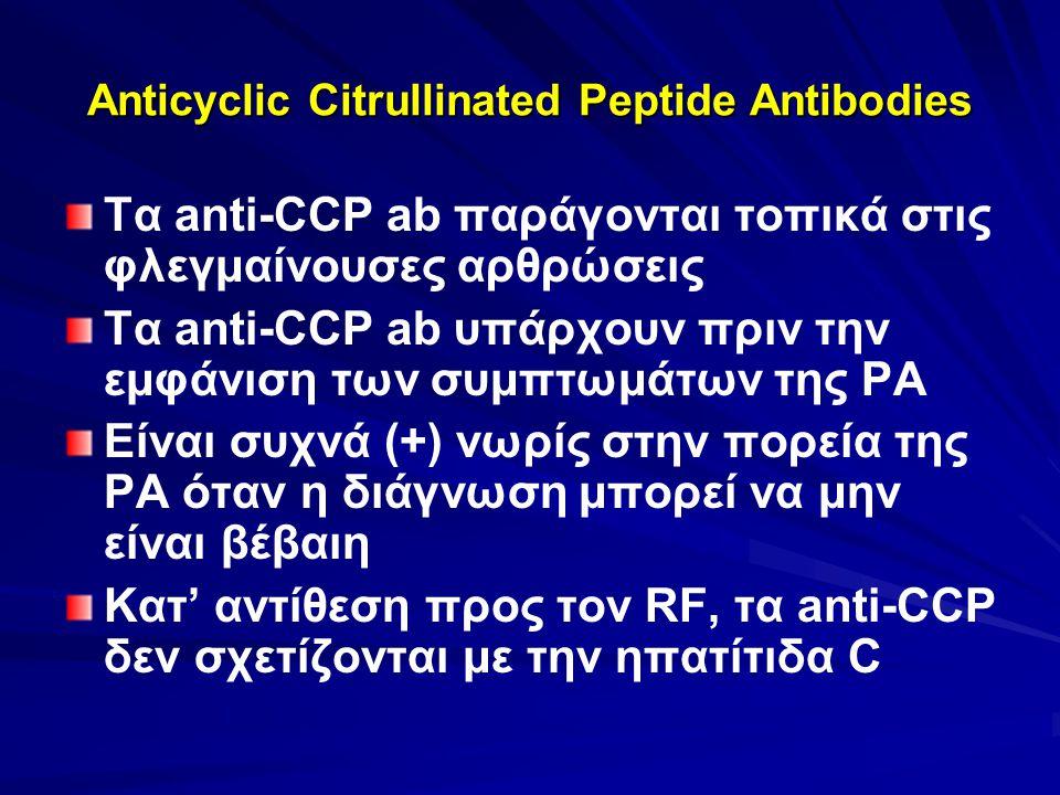 Anticyclic Citrullinated Peptide Antibodies Τα anti-CCP ab παράγονται τοπικά στις φλεγμαίνουσες αρθρώσεις Τα anti-CCP ab υπάρχουν πριν την εμφάνιση τω