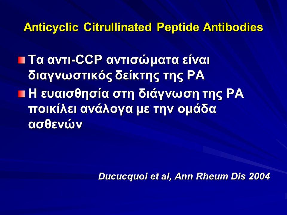 Anticyclic Citrullinated Peptide Antibodies Τα αντι-CCP αντισώματα είναι διαγνωστικός δείκτης της ΡΑ Η ευαισθησία στη διάγνωση της ΡΑ ποικίλει ανάλογα με την ομάδα ασθενών Ducucquoi et al, Ann Rheum Dis 2004