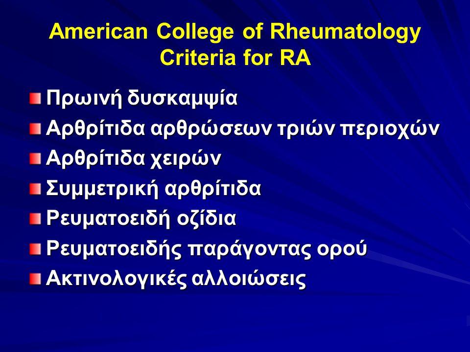 American College of Rheumatology Criteria for RA Πρωινή δυσκαμψία Αρθρίτιδα αρθρώσεων τριών περιοχών Αρθρίτιδα χειρών Συμμετρική αρθρίτιδα Ρευματοειδή οζίδια Ρευματοειδής παράγοντας ορού Ακτινολογικές αλλοιώσεις