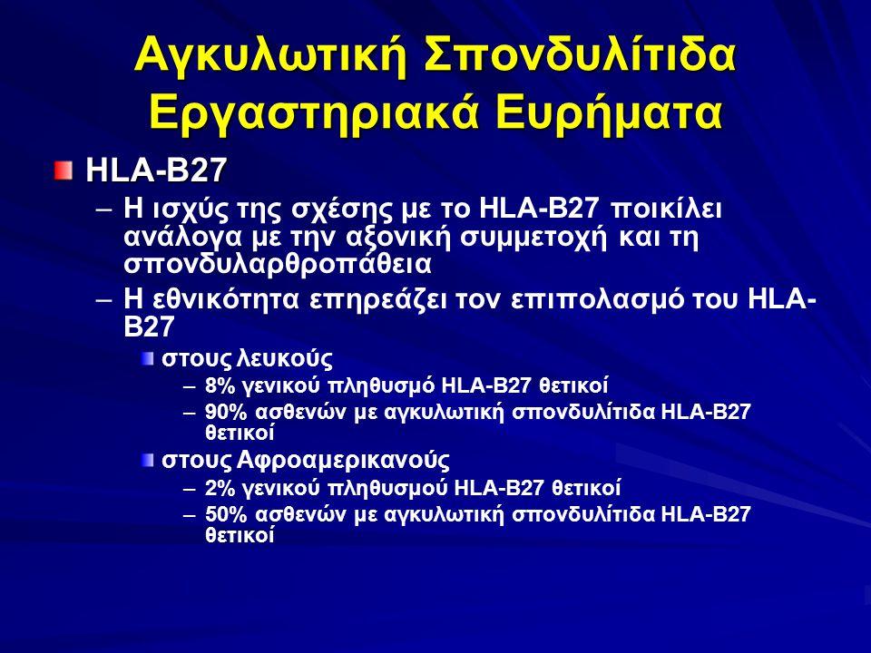 Αγκυλωτική Σπονδυλίτιδα Εργαστηριακά Ευρήματα HLA-B27 – –Η ισχύς της σχέσης με το HLA-B27 ποικίλει ανάλογα με την αξονική συμμετοχή και τη σπονδυλαρθροπάθεια – –Η εθνικότητα επηρεάζει τον επιπολασμό του HLA- B27 στους λευκούς – –8% γενικού πληθυσμό HLA-B27 θετικοί – –90% ασθενών με αγκυλωτική σπονδυλίτιδα HLA-B27 θετικοί στους Αφροαμερικανούς – –2% γενικού πληθυσμού HLA-B27 θετικοί – –50% ασθενών με αγκυλωτική σπονδυλίτιδα HLA-B27 θετικοί