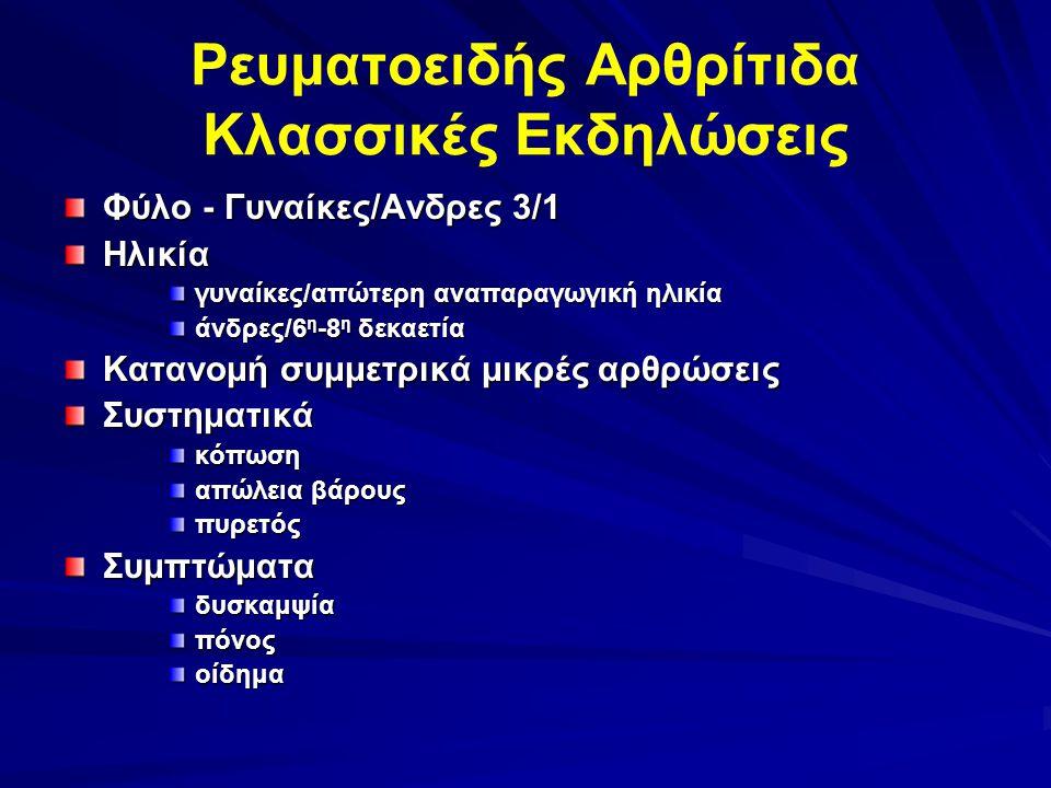 Ρευματοειδής Αρθρίτιδα Κλασσικές Εκδηλώσεις Φύλο - Γυναίκες/Ανδρες 3/1 Ηλικία γυναίκες/απώτερη αναπαραγωγική ηλικία άνδρες/6 η -8 η δεκαετία Κατανομή