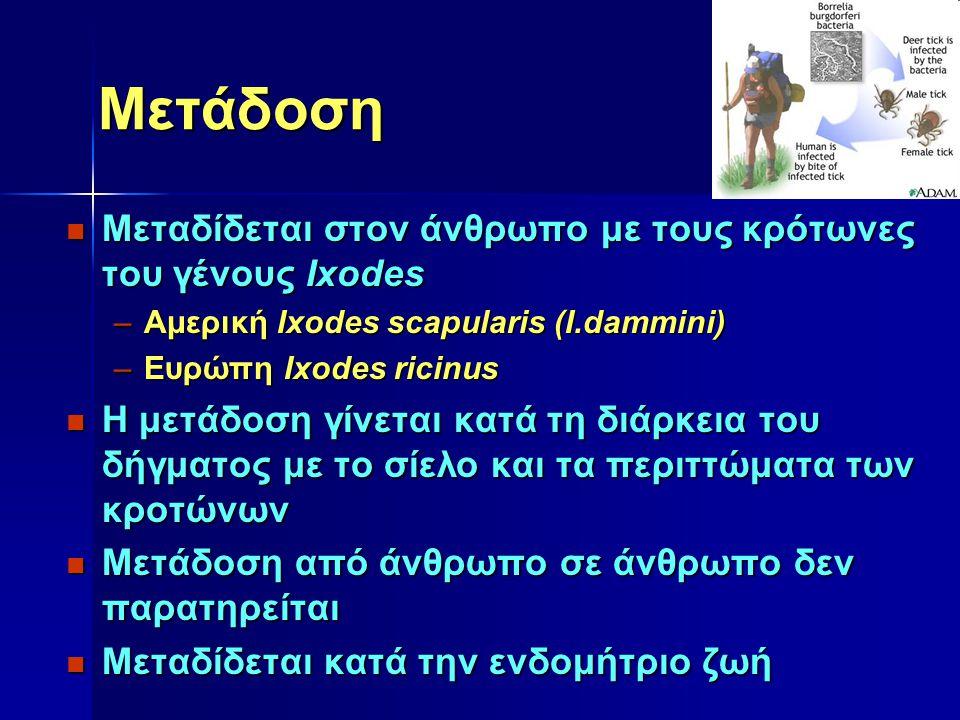 Μετάδοση Μεταδίδεται στον άνθρωπο με τους κρότωνες του γένους Ixodes Μεταδίδεται στον άνθρωπο με τους κρότωνες του γένους Ixodes –Αμερική Ixodes scapu