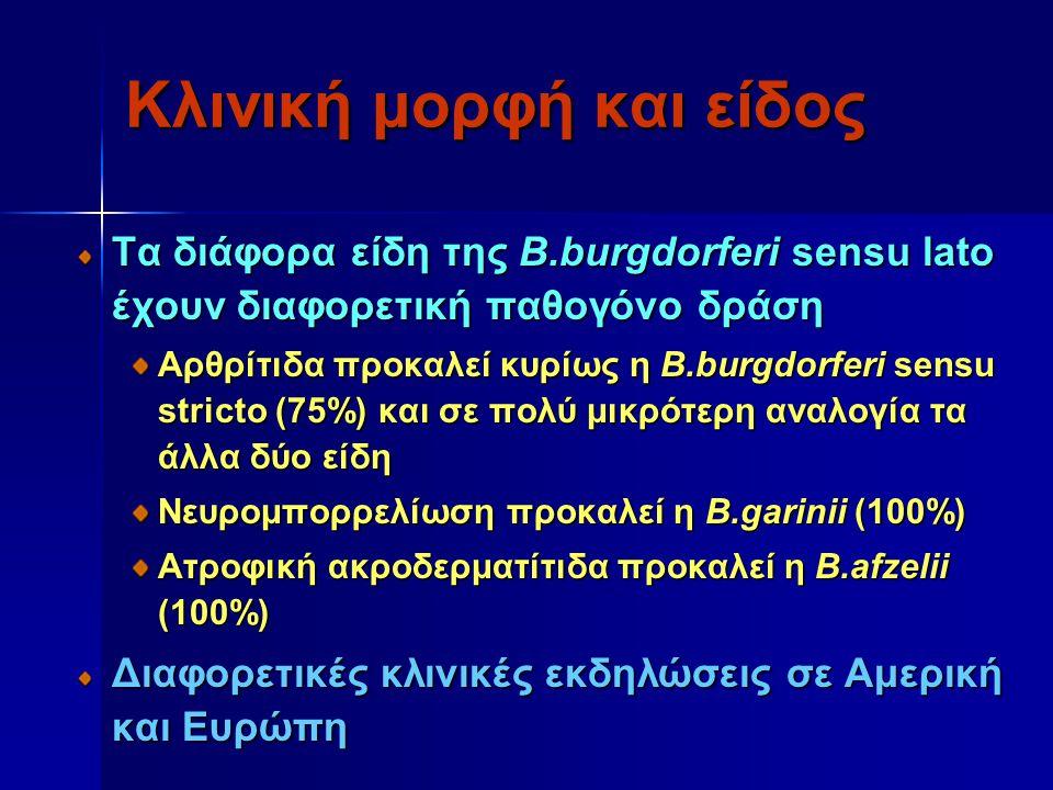 Κλινική μορφή και είδος Τα διάφορα είδη της Β.burgdorferi sensu lato έχουν διαφορετική παθογόνο δράση Αρθρίτιδα προκαλεί κυρίως η B.burgdorferi sensu