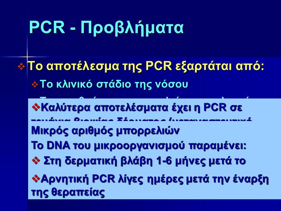 PCR - Προβλήματα  Το αποτέλεσμα της PCR εξαρτάται από:  Το κλινικό στάδιο της νόσου  Τον αριθμό των μπορρελιών στο κλινικό δείγμα  Την επιλογή του