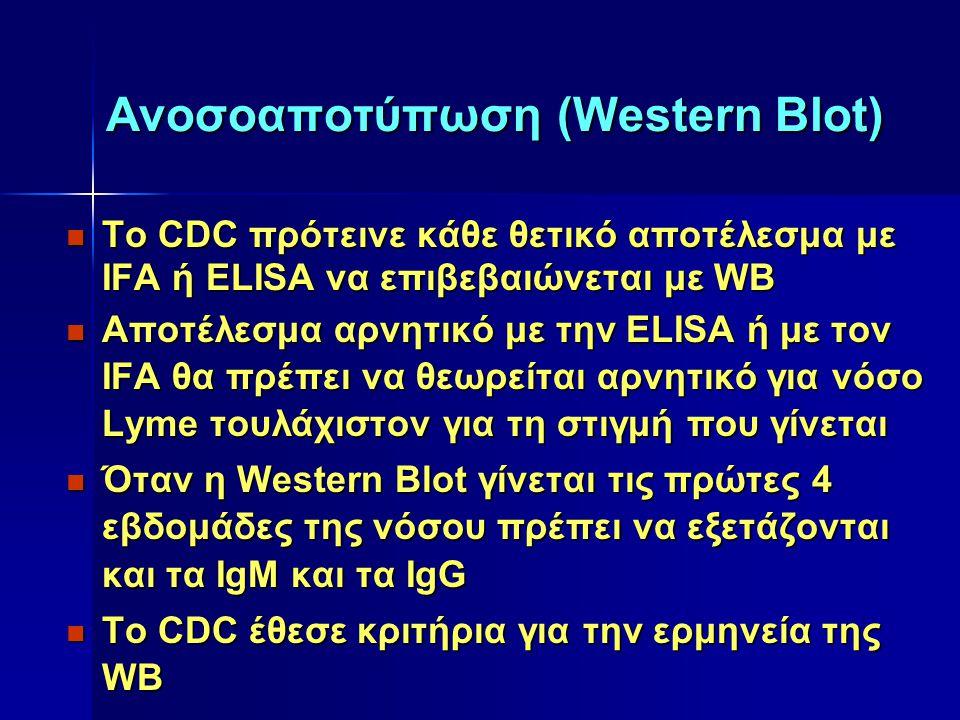 Ανοσοαποτύπωση (Western Blot) Tο CDC πρότεινε κάθε θετικό αποτέλεσμα με IFA ή ELISA να επιβεβαιώνεται με WB Tο CDC πρότεινε κάθε θετικό αποτέλεσμα με