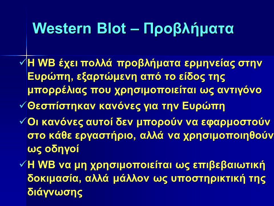 Western Blot – Προβλήματα Η WB έχει πολλά προβλήματα ερμηνείας στην Ευρώπη, εξαρτώμενη από το είδος της μπορρέλιας που χρησιμοποιείται ως αντιγόνο Η W