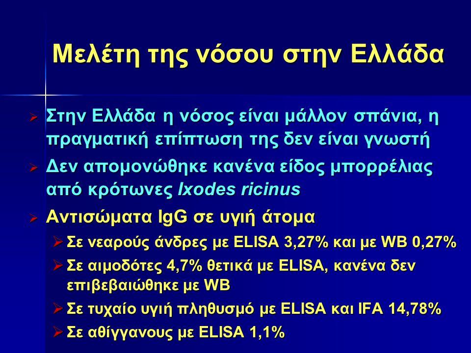 Μελέτη της νόσου στην Ελλάδα  Όχι ισχυρή εργαστηριακή τεκμηρίωση –1994: Περίπτωση ραγοειδίτιδας –1991 και 2002: Δύο περιπτώσεις ασθενών με νευρολογικές διαταραχές –2004: Περίπτωση δευτεροπαθούς σπειραματονεφρίτιδας –2006: Περίπτωση καρδίτιδας  Ανιχνεύθηκε B.valaisiana στο ΕΝΥ με PCR –2004: Περίπτωση σπαστικής παραπάρεσης  Αντισώματα σε α σθενείς  Με αρθρίτιδα, με IFA 7,3% με WB 0%  Με αρθρίτιδα ή με συμπτώματα από το ΚΝΣ Mία περίπτωση ενδεικτική νόσου Mία περίπτωση ενδεικτική νόσου Μεγάλος αριθμός ψευδώς θετικών αποτελεσμάτων Μεγάλος αριθμός ψευδώς θετικών αποτελεσμάτων