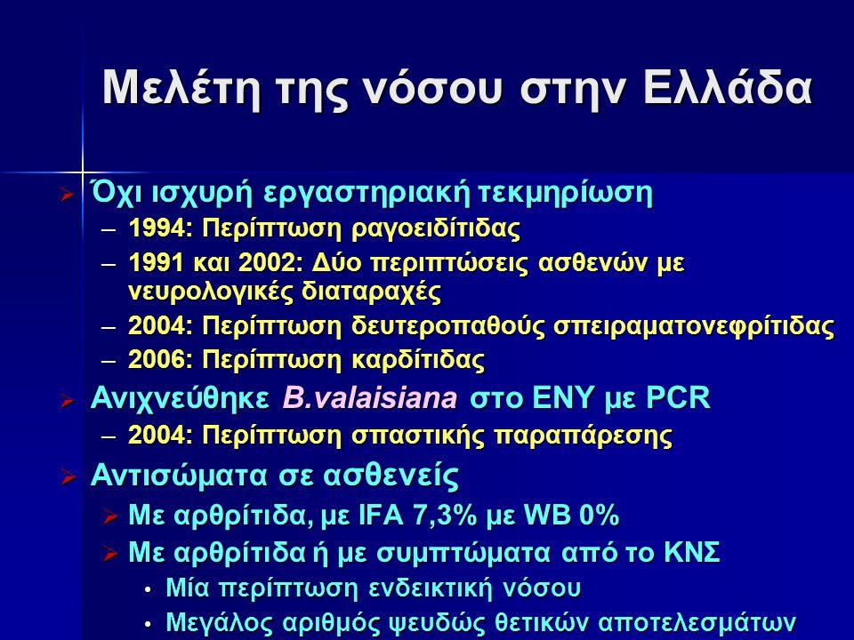 Μελέτη της νόσου στην Ελλάδα  Όχι ισχυρή εργαστηριακή τεκμηρίωση –1994: Περίπτωση ραγοειδίτιδας –1991 και 2002: Δύο περιπτώσεις ασθενών με νευρολογικ