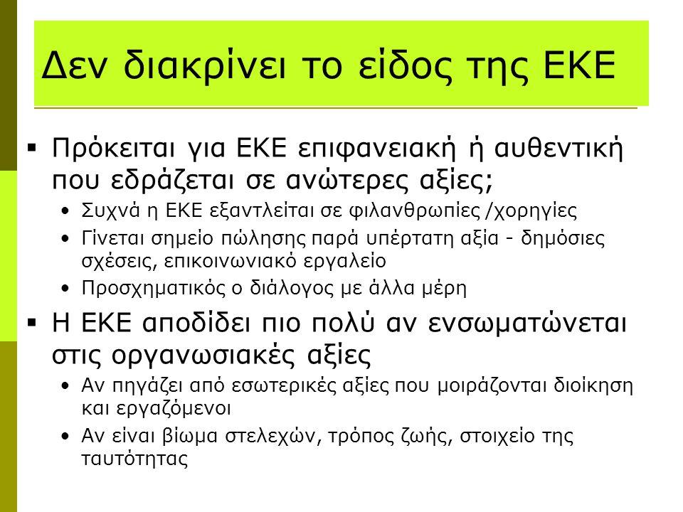 Δεν διακρίνει το είδος της ΕΚΕ  Πρόκειται για ΕΚΕ επιφανειακή ή αυθεντική που εδράζεται σε ανώτερες αξίες; Συχνά η ΕΚΕ εξαντλείται σε φιλανθρωπίες /χ
