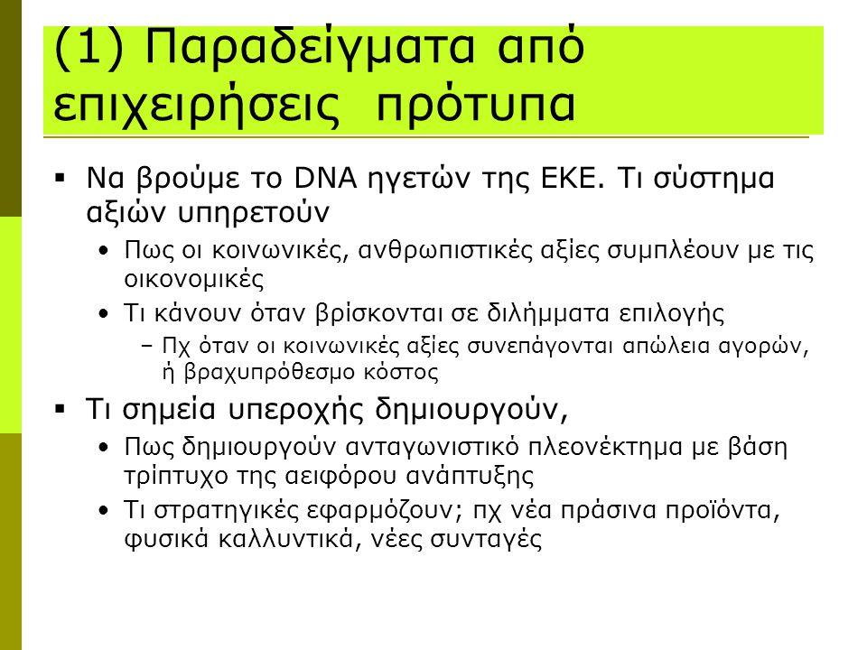 (1) Παραδείγματα από επιχειρήσεις πρότυπα  Να βρούμε το DNA ηγετών της ΕΚΕ. Τι σύστημα αξιών υπηρετούν Πως οι κοινωνικές, ανθρωπιστικές αξίες συμπλέο