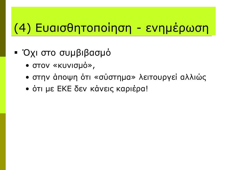 (4) Ευαισθητοποίηση - ενημέρωση  Όχι στο συμβιβασμό στον «κυνισμό», στην άποψη ότι «σύστημα» λειτουργεί αλλιώς ότι με ΕΚΕ δεν κάνεις καριέρα!
