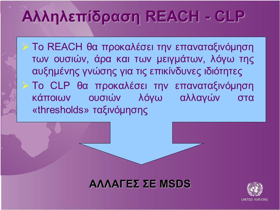 Αλληλεπίδραση REACH - CLP  To REACH θα προκαλέσει την επαναταξινόμηση των ουσιών, άρα και των μειγμάτων, λόγω της αυξημένης γνώσης για τις επικίνδυνες ιδιότητες  Το CLP θα προκαλέσει την επαναταξινόμηση κάποιων ουσιών λόγω αλλαγών στα «thresholds» ταξινόμησης ΑΛΛΑΓΕΣ ΣΕ MSDS