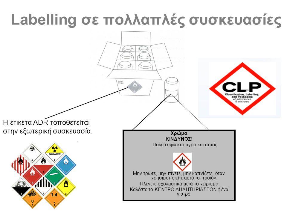 Labelling σε πολλαπλές συσκευασίες Χρώμα ΚΙΝΔΥΝΟΣ.