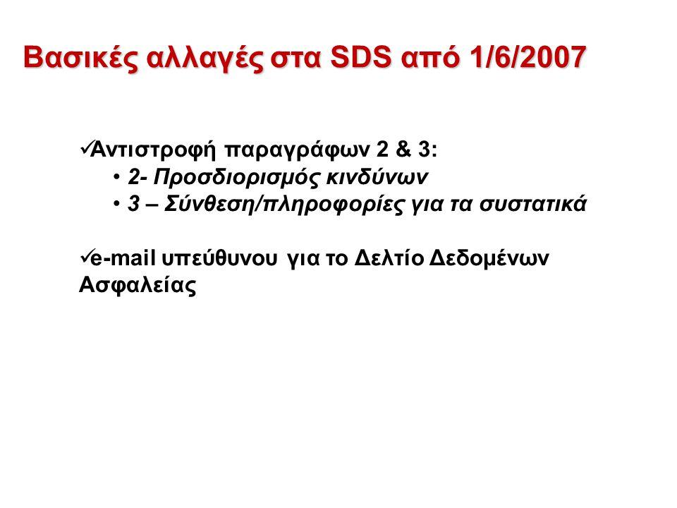 Βασικές αλλαγές στα SDS από 1/6/2007 Αντιστροφή παραγράφων 2 & 3: 2- Προσδιορισμός κινδύνων 3 – Σύνθεση/πληροφορίες για τα συστατικά e-mail υπεύθυνου για το Δελτίο Δεδομένων Ασφαλείας