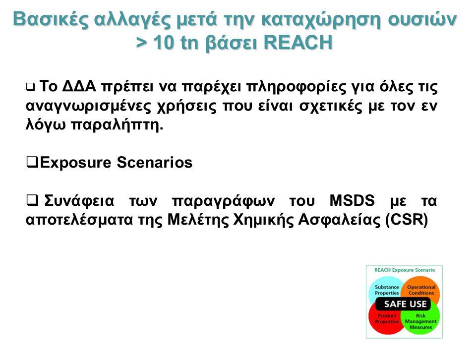 Βασικές αλλαγές μετά την καταχώρηση ουσιών > 10 tn βάσει REACH  Το ΔΔΑ πρέπει να παρέχει πληροφορίες για όλες τις αναγνωρισμένες χρήσεις που είναι σχετικές με τον εν λόγω παραλήπτη.