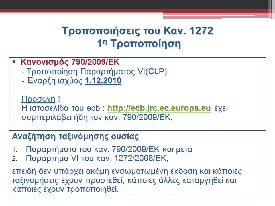 Τροποποιήσεις του Καν. 1272 1 η Τροποποίηση  Κανονισμός 790/2009/ΕΚ - Τροποποίηση Παραρτήματος VI(CLP) - Τροποποίηση Παραρτήματος VI(CLP) - Έναρξη ισ