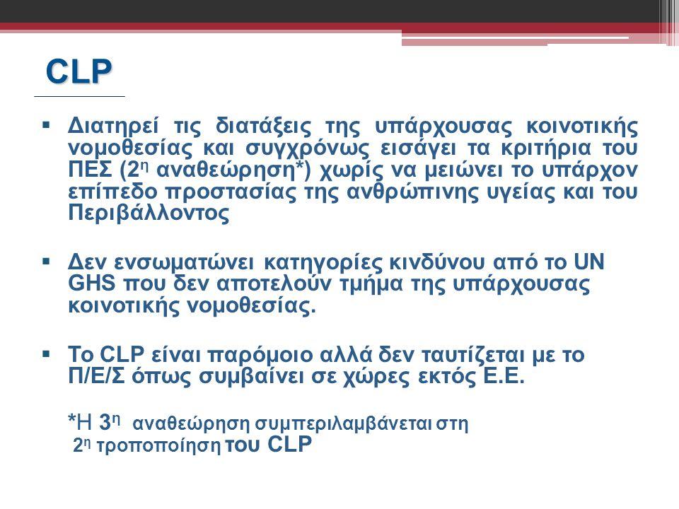 CLP CLP  Διατηρεί τις διατάξεις της υπάρχουσας κοινοτικής νομοθεσίας και συγχρόνως εισάγει τα κριτήρια του ΠΕΣ (2 η αναθεώρηση*) χωρίς να μειώνει το