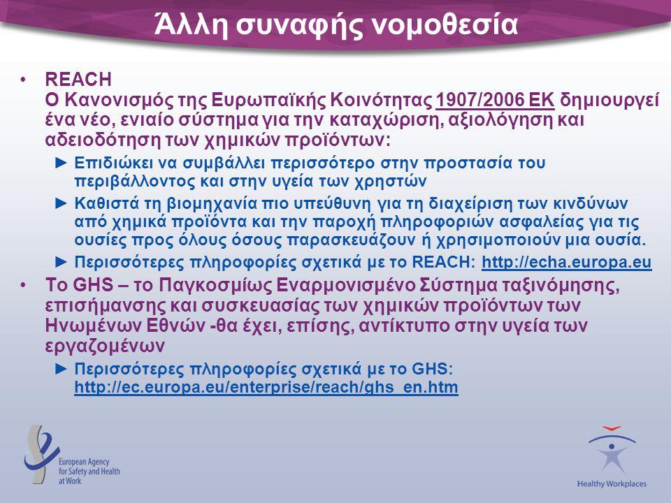 Άλλη συναφής νομοθεσία REACH Ο Κανονισμός της Ευρωπαϊκής Κοινότητας 1907/2006 ΕΚ δημιουργεί ένα νέο, ενιαίο σύστημα για την καταχώριση, αξιολόγηση και