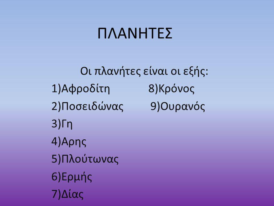 ΠΛΑΝΗΤΕΣ Οι πλανήτες είναι οι εξής: 1)Αφροδίτη 8)Κρόνος 2)Ποσειδώνας 9)Ουρανός 3)Γη 4)Αρης 5)Πλούτωνας 6)Ερμής 7)Δίας