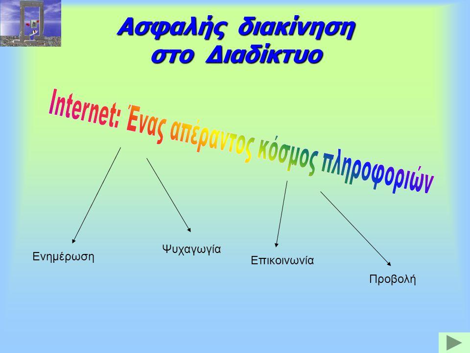 Ασφαλής διακίνηση στο Διαδίκτυο Ενημέρωση Ψυχαγωγία Επικοινωνία Προβολή