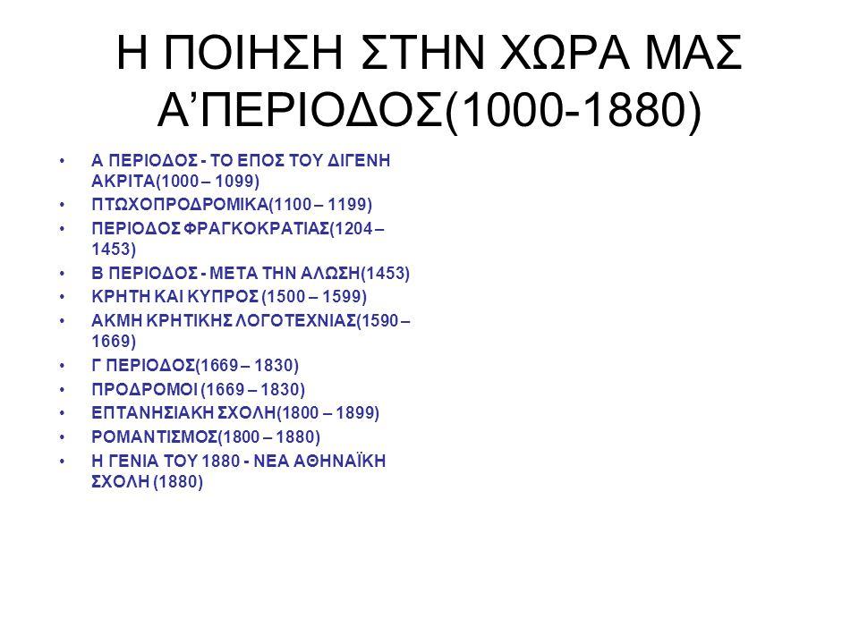 H ΠΟΙΗΣΗ ΣΤΗΝ ΧΩΡΑ ΜΑΣ Α'ΠΕΡΙΟΔΟΣ(1000-1880) Α ΠΕΡΙΟΔΟΣ - ΤΟ ΕΠΟΣ ΤΟΥ ΔΙΓΕΝΗ ΑΚΡΙΤΑ(1000 – 1099) ΠΤΩΧΟΠΡΟΔΡΟΜΙΚΑ(1100 – 1199) ΠΕΡΙΟΔΟΣ ΦΡΑΓΚΟΚΡΑΤΙΑΣ(1204 – 1453) Β ΠΕΡΙΟΔΟΣ - ΜΕΤΑ ΤΗΝ ΑΛΩΣΗ(1453) ΚΡΗΤΗ ΚΑΙ ΚΥΠΡΟΣ (1500 – 1599) ΑΚΜΗ ΚΡΗΤΙΚΗΣ ΛΟΓΟΤΕΧΝΙΑΣ(1590 – 1669) Γ ΠΕΡΙΟΔΟΣ(1669 – 1830) ΠΡΟΔΡΟΜΟΙ (1669 – 1830) ΕΠΤΑΝΗΣΙΑΚΗ ΣΧΟΛΗ(1800 – 1899) ΡΟΜΑΝΤΙΣΜΟΣ(1800 – 1880) Η ΓΕΝΙΑ ΤΟΥ 1880 - ΝΕΑ ΑΘΗΝΑΪΚΗ ΣΧΟΛΗ (1880)