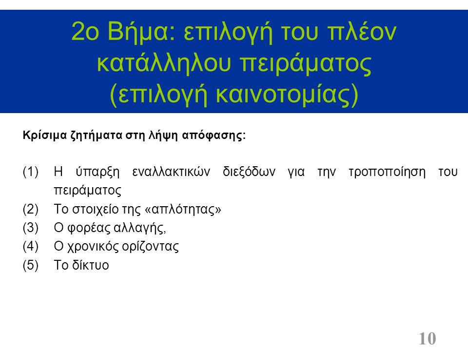 2ο Βήμα: επιλογή του πλέον κατάλληλου πειράματος (επιλογή καινοτομίας) 10 Κρίσιμα ζητήματα στη λήψη απόφασης: (1)Η ύπαρξη εναλλακτικών διεξόδων για την τροποποίηση του πειράματος (2)Το στοιχείο της «απλότητας» (3)Ο φορέας αλλαγής, (4)Ο χρονικός ορίζοντας (5)Το δίκτυο