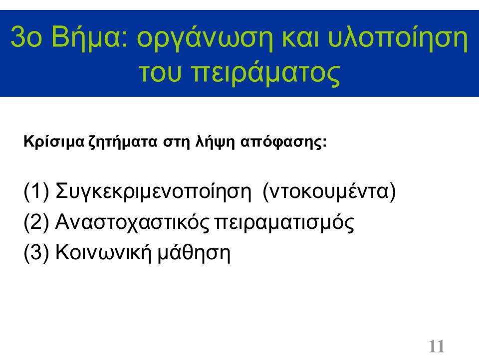 3ο Βήμα: οργάνωση και υλοποίηση του πειράματος 11 Κρίσιμα ζητήματα στη λήψη απόφασης: (1)Συγκεκριμενοποίηση (ντοκουμέντα) (2)Αναστοχαστικός πειραματισμός (3)Κοινωνική μάθηση