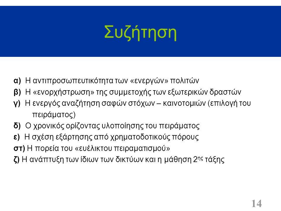 Συζήτηση 14 α) Η αντιπροσωπευτικότητα των «ενεργών» πολιτών β) Η «ενορχήστρωση» της συμμετοχής των εξωτερικών δραστών γ) Η ενεργός αναζήτηση σαφών στό