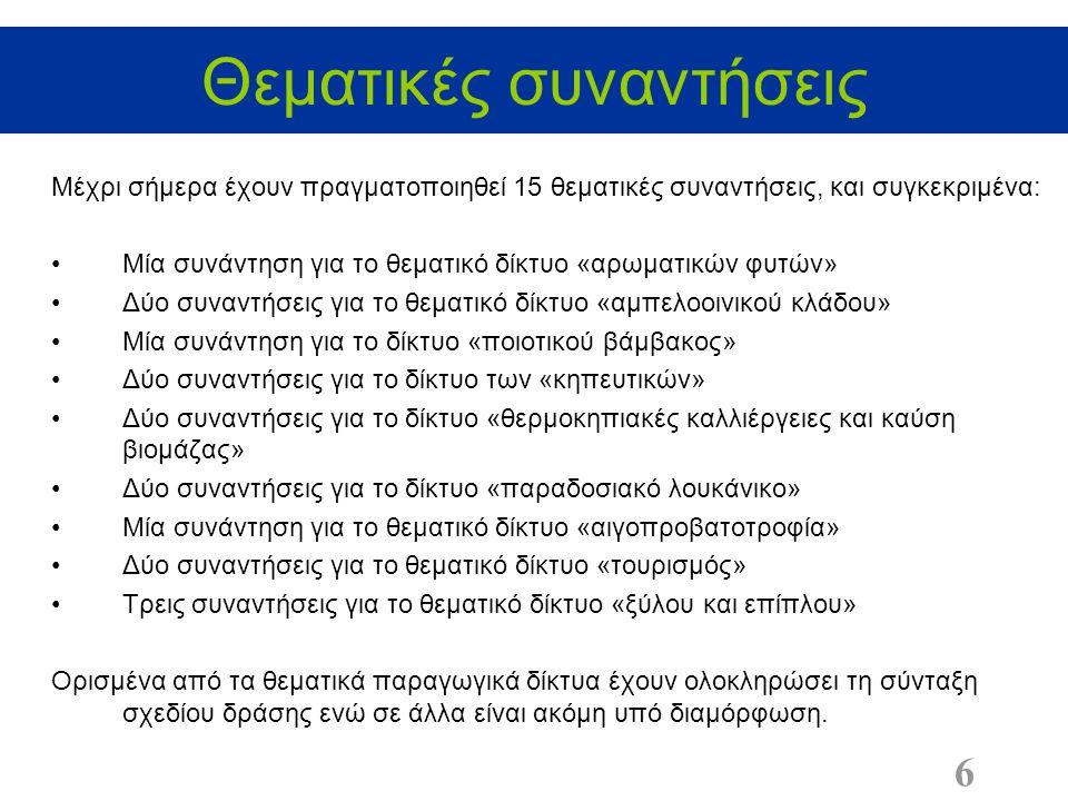 Θεματικές συναντήσεις 6 Μέχρι σήμερα έχουν πραγματοποιηθεί 15 θεματικές συναντήσεις, και συγκεκριμένα: Μία συνάντηση για το θεματικό δίκτυο «αρωματικών φυτών» Δύο συναντήσεις για το θεματικό δίκτυο «αμπελοοινικού κλάδου» Μία συνάντηση για το δίκτυο «ποιοτικού βάμβακος» Δύο συναντήσεις για το δίκτυο των «κηπευτικών» Δύο συναντήσεις για το δίκτυο «θερμοκηπιακές καλλιέργειες και καύση βιομάζας» Δύο συναντήσεις για το δίκτυο «παραδοσιακό λουκάνικο» Μία συνάντηση για το θεματικό δίκτυο «αιγοπροβατοτροφία» Δύο συναντήσεις για το θεματικό δίκτυο «τουρισμός» Τρεις συναντήσεις για το θεματικό δίκτυο «ξύλου και επίπλου» Ορισμένα από τα θεματικά παραγωγικά δίκτυα έχουν ολοκληρώσει τη σύνταξη σχεδίου δράσης ενώ σε άλλα είναι ακόμη υπό διαμόρφωση.