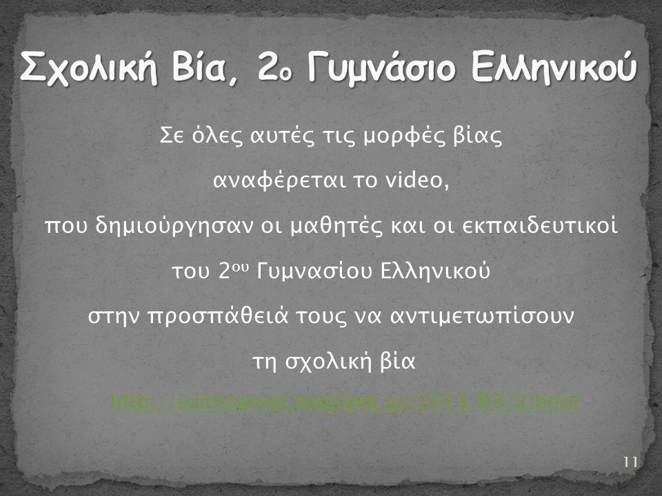 Σε όλες αυτές τις μορφές βίας αναφέρεται το video, που δημιούργησαν οι μαθητές και οι εκπαιδευτικοί του 2 ου Γυμνασίου Ελληνικού στην προσπάθειά τους